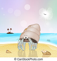 hermit crab on the beach - illustration of hermit crab on...