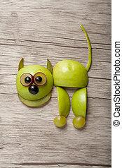 espantado, gato, hecho, de, manzana, kiwi, y, uva, en,...