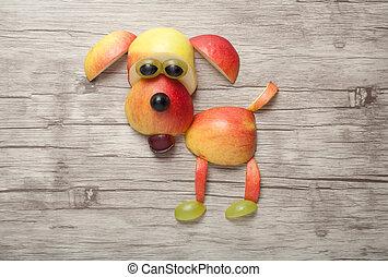 perro, hecho, de, manzana, en, de madera, Plano de fondo,