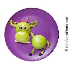 divertido, hecho, placa, púrpura, fruta, toro