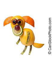 perro, hecho, de, fresco, frutas, estantes, en, aislado,...