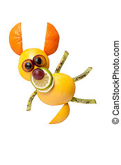 perro, hecho, de, naranja, y, kiwi, en, divertido, postura,