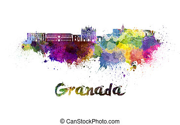 Granada skyline in watercolor splatters with clipping path