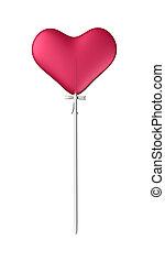 3D Illustration Lollipop Red Heart on White