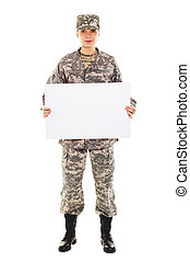 Soldier in the military uniform with plate, isolated