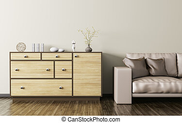 Wooden dresser and beige leather sofa 3d rendering