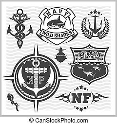 Military and naval forces badges, design elements - vector...