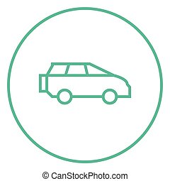 Minivan line icon - Minivan thick line icon with pointed...