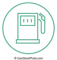Gas station line icon - Gas station thick line icon with...