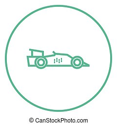 Race car line icon - Race car thick line icon with pointed...