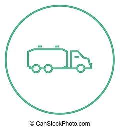 Truck liquid cargo line icon - Truck liquid cargo thick line...