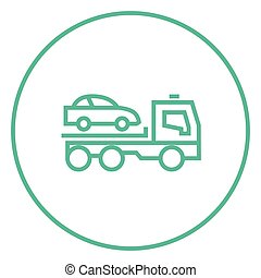 Car towing truck line icon - Car towing truck thick line...