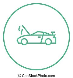Broken car with open hood line icon - Broken car with open...