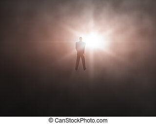Into the Light - Man walking from dark abyss into a bright...