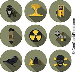 nuclear war flat icons in vector format eps10