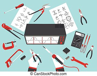 flat electronic repairs in vector format eps10