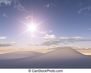 Sun on Crystal White Sand dunes