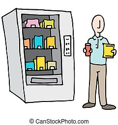 Man Using Vending Machine - An image of a Man Using Vending...