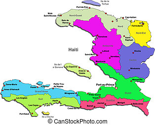 Haiti map - Color Haiti map with regions over white