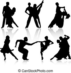 Dancing peoples over white