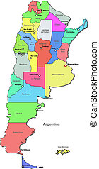 Color Argentina map with regions over white