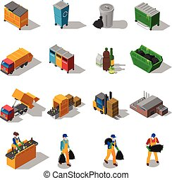 Garbage Recycling Isometric Icons Collection - Garbage...