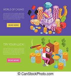Casino Horizontal Isometric Banner - Casino horizontal...