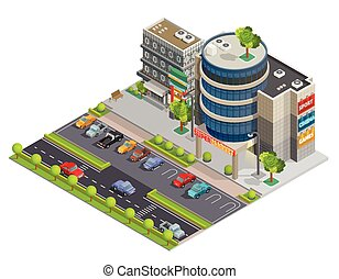 Shopping Center Street View Isometric Composition - Modern...