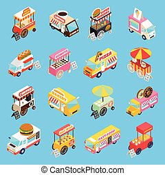 Street Food Carts Isometric Icons Set - Street food trucks...