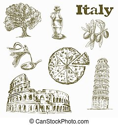 Sights and culture in Italy - hand drawn sketches of Sights...