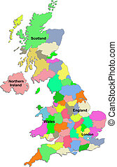 UK map - United Kingdom map over white