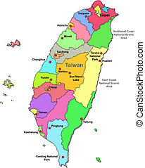 Taiwan map over white