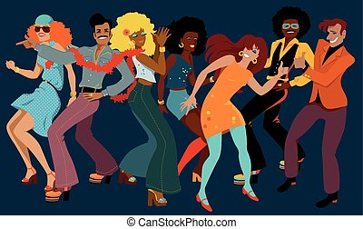 Disco club - People dressed in 1970s fashion dancing disco...