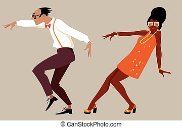 Retro dance party - Couple dressed in 1960 fashion dancing a...