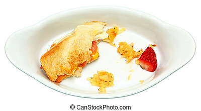 Half Eaten Egg Sandwich, Hashbrown, Strawberry in white...