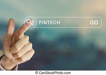 business hand clicking fintech or financial technology...