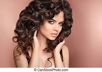 Curly hairstyle Healthy hair Attractive brunette girl model...
