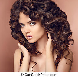 Healthy hair Makeup Beautiful brunette girl model with long...