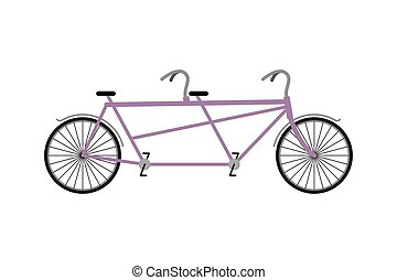 Tandem Bicycle isolated on white background. Bicycles for walks together. Wheeled vehicle for two people