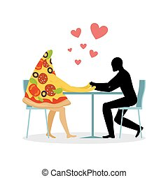 Lover pizza in cafe. Man and a slice of pizza sitting at table. food in restaurant. Pizza in dining room. Romantic date in public place. Romantic  illustration life gourmet