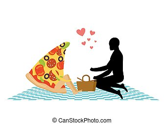 Pizza on picnic. Rendezvous in Park. piece of pizza and man. Country lovers jaunt into cash. Meal in nature. Plaid and basket for food on lawn. Man and food. Romantic meal illustration life gourmet