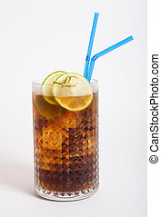 Long island iced tea in a glass with straw