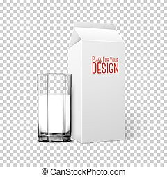 Transparent realistic Vector glass, paper box isolated on...