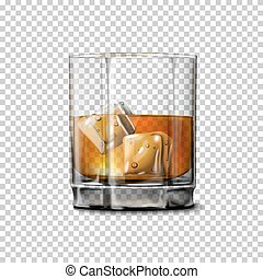 Transparent realistic Vector glass with smokey Scotch...