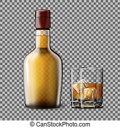 Transparent realistic Vector bottle and glass with smokey...