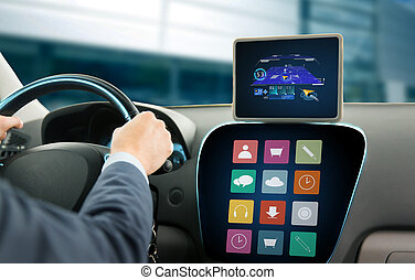 close up of man with gps on tablet pc driving car -...