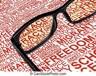 Eyeglasses with background concept wordcloud of human rights...