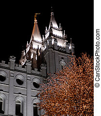 Salt Lake City Temple Square Christmas Lights on Trees and...