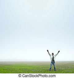 Man Happy in Field