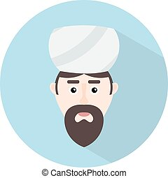 Color flat Muslim icon. A man with a beard - Mufti...